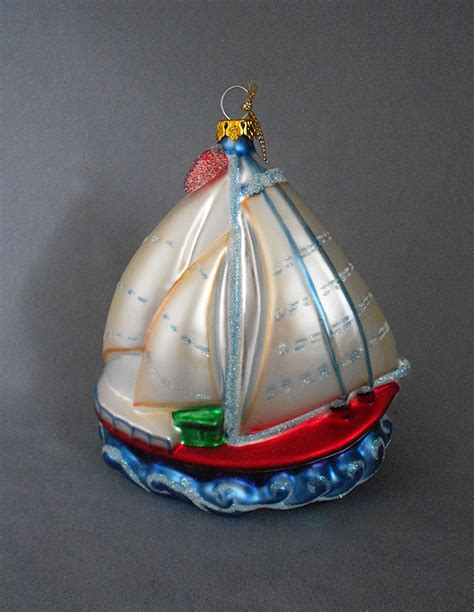 1980s vintage extra large blown glass sailboat christmas