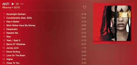Rihanna Album Tracklist And Listen To The Entire Album Now by Discussion Rearrange Anti S Tracklist Classic Atrl