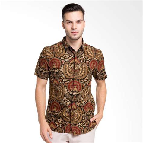 Kemeja Lengan Pendek Pria Brown jual arthesian batik keraton printing kemeja batik pria