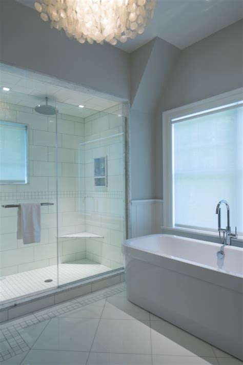 Rubbed Bronze Chandelier Shower With Vaulted Ceiling Design Ideas