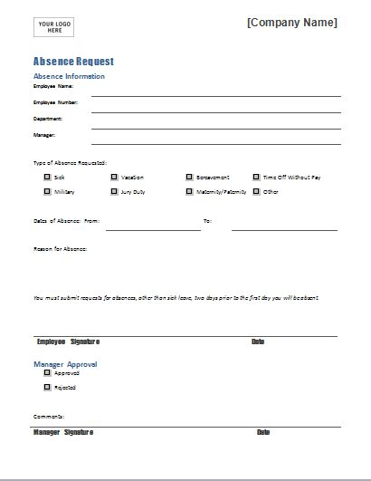 leave of absence request form template employee absence request form template for word document hub