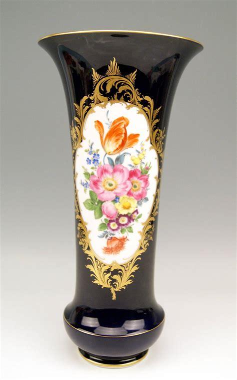Meissen Vases by Meissen Cobalt Blue Vase Funneled Shape Flowers Height 16