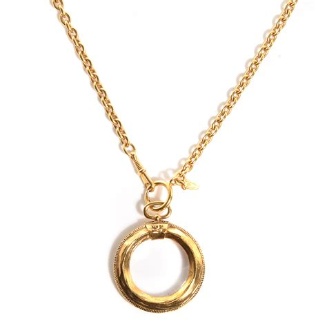 chanel vintage loupe magnifying glass necklace gold 86560