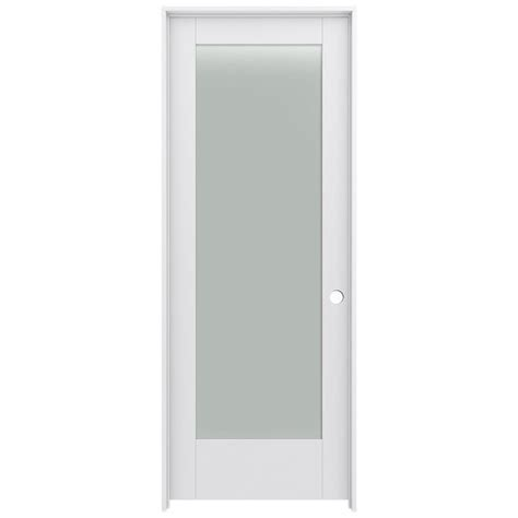 Prehung Interior Door With Glass Shop Jeld Wen Moda Primed Frosted Glass Wood Pine Single Prehung Interior Door Common 24 In X