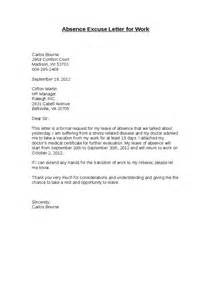 Excuse Letter Absence Excuse Letter For Work Hashdoc