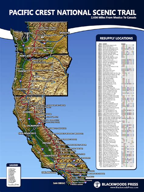 map of oregon pacific crest trail pacific crest trail map