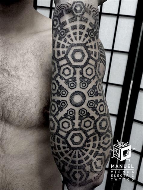 Geometric Tattoo Vienna | arm dotwork geometric tattoo by vienna electric tattoo