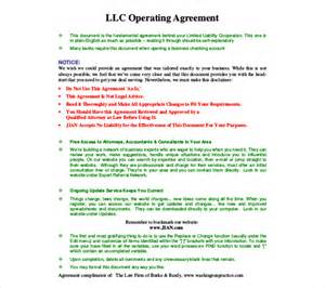 operating agreement template free 11 operating agreement templates free sle exle