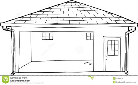 garage cartoon empty outlined garage cartoon stock illustration image