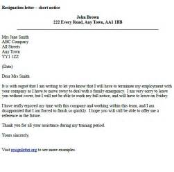 Notice Letter For Resignation by Resignation Letter Exle Notice Resignation Letter Exles