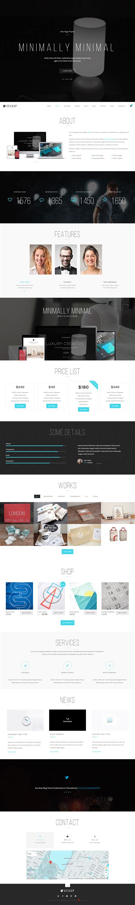 theme wordpress one page responsive vesaup premium responsive parallax one page wordpress theme