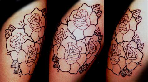 roses line work tattoo by joshua nordstrom tattoos