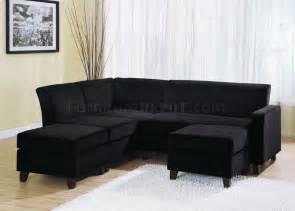 Black Microfiber Sectional Sofa Black Microfiber Stylish Sectional Sofa W Wooden Legs