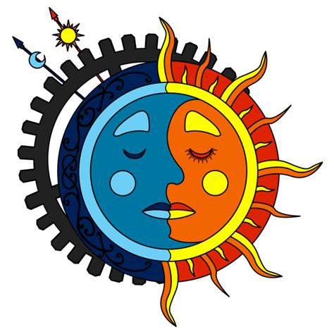 moon tattoo png moon sun steunk tattoo color 2 by dimensionten on
