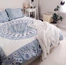 home accessory blue and white bedding boho boho decor