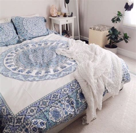 indie comforters home accessory blue and white bedding boho boho decor