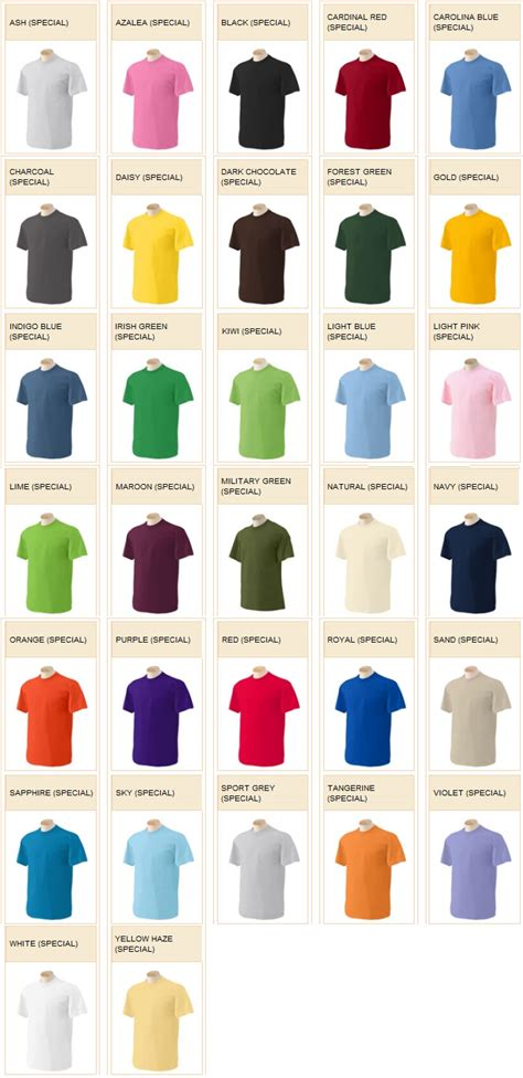 gildan t shirt color chart gildan color chart 5 dollar school tees