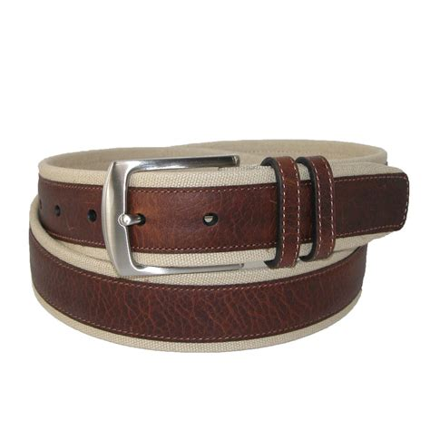 mens canvas and leather overlay 1 3 8 inch belt by