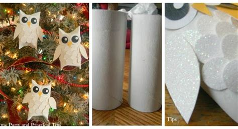 How To Make Owls Out Of Toilet Paper Rolls - how to make snowy glitter owl ornaments