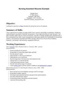 Cna Objective Resume Skills For Cna Resume Nursing Assistant Resume Examples