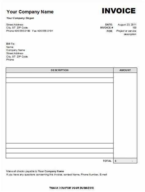 ms word invoice template free blank invoice template printable free printable blank
