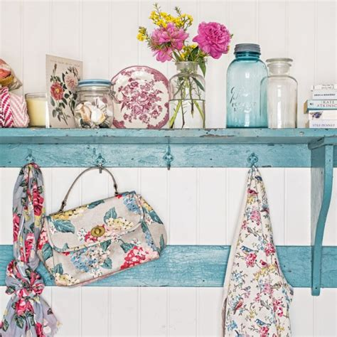 country kitchen with shabby chic and floral accessories housetohome co uk