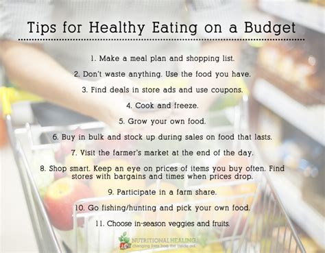 tips  healthy eating   budget nutritional healing