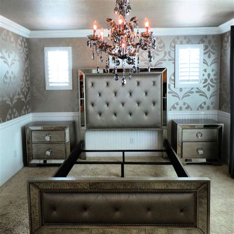 Mirrored Headboard Bedroom Set by Bedroom Awesome Mirrored Nightstand Design With Beds And Tile Floor For Bedroom Decor