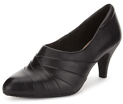 marks and spencer footglovetm leather ruched shoe boots