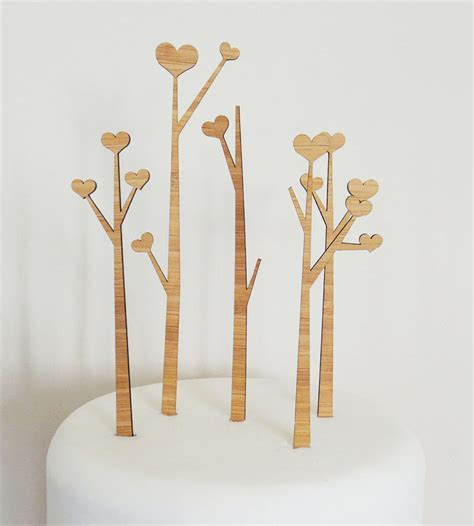heart trees wood cake toppers wedding decor cake food