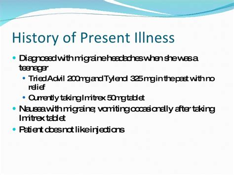 history of present illness template patient presentation