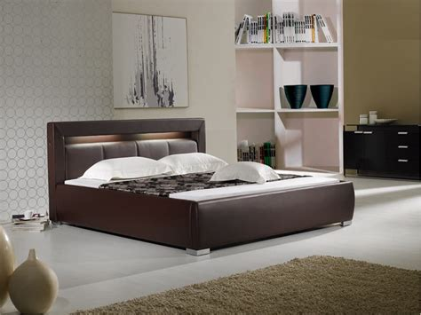 lit avec lumiere lit rectangle ambiance cuir chambre adulte barry lit avec lumi 200 re int 200 gre 243x178x83