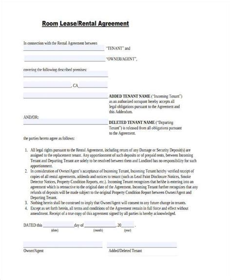 printable lease agreement sle room rental agreement 9 free 28 images doc 600776
