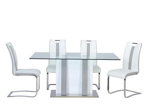 ensemble table ciara 4 chaises matilda gris blanc