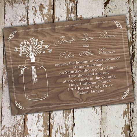 country wedding invitations rustic wood jars wedding invitations ewi245 as low as 0 94