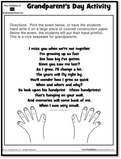 printable bookmarks for grandparents day grandparent s day activity keepsake handprint poem a to