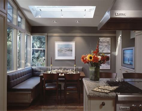 Banquette seating home kitchen traditional with black windows breakfast bar tv