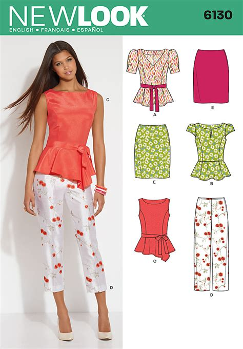 pattern new look new look 6130 misses top pants skirt and belt