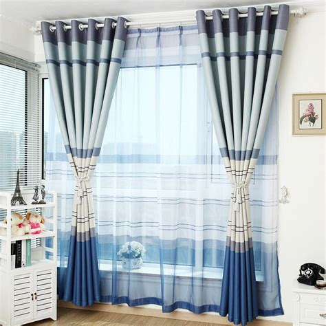 blue striped curtains bedroom blue neat modern ready made bedroom striped curtains