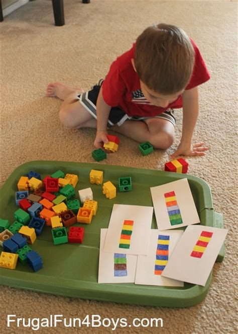 pattern game ideas two preschool math activities with duplo legos frugal