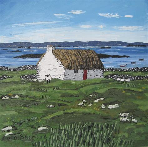 Connemara Cottages by Connemara Thatched Cottage With Sheep Ireland Painting By