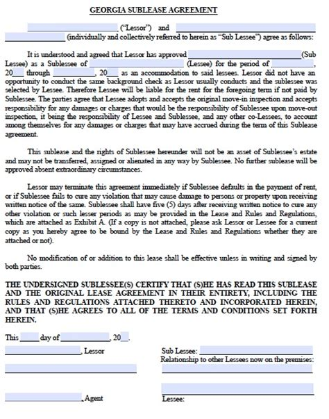 free printable lease agreement georgia free georgia sublease agreement pdf template