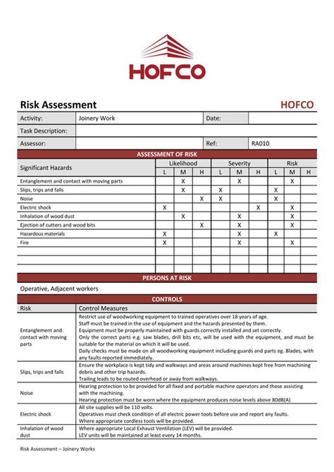 scaffolding risk assessment template images templates