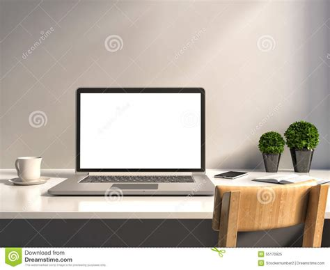 laptop office desk office desk laptop and coffee stock illustration image