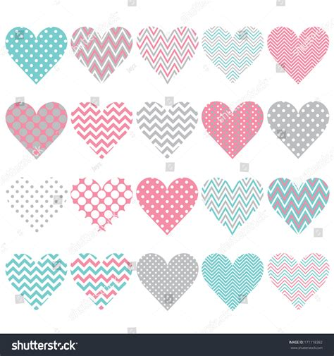 dot pattern heart pink chevron polka dot heart shape stock vector 171118382