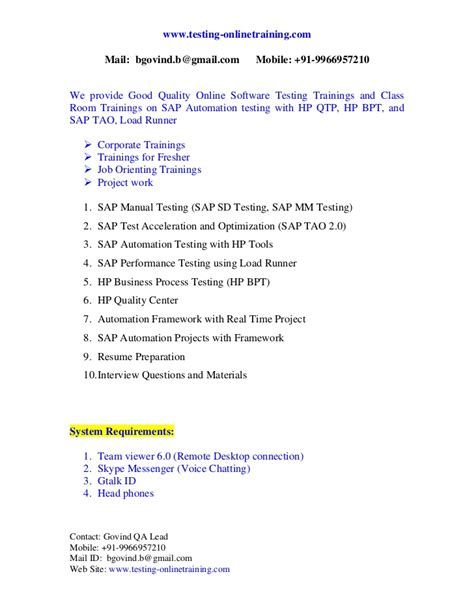 Automated Tester Sle Resume by Sap Automation Testing Resume 28 Images Qtp Automation Testing Resume Sles Resume Templates