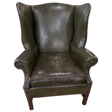 leather wingback chair sydney green leather chippendale style wing chair and ottoman at