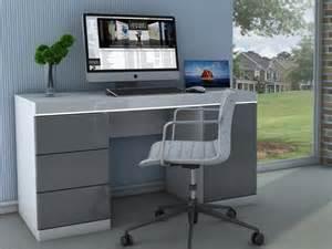 bureau loic ii leds 1 porte 3 tiroirs blanc gris