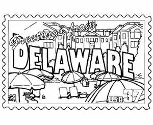 usa printables delaware state stamp us states coloring