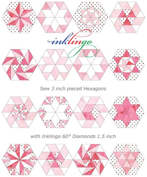 Piecing Patchwork - inklingo hexagons with franz inklingo hexies